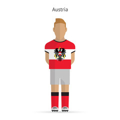 Austria football player. Soccer uniform.