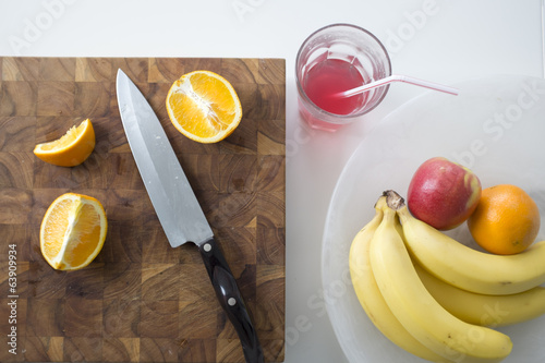 Breakfast Fruit Arrangement with Juice and Sliced Oranges