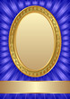 blue background with golden frame