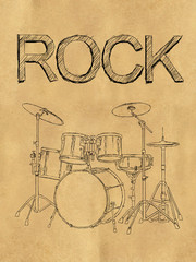 Rock Drum Sketch on Paper