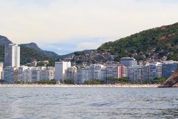 Copacabana Leme beach, favela, Rio de Janeiro