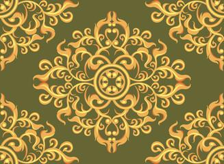 Art pattern wallpaper on green background