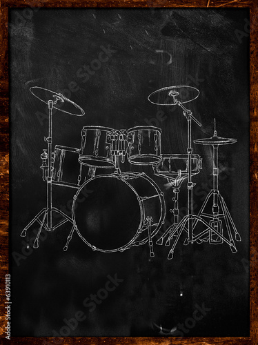 Drum Chalk Sketch on Blackboard