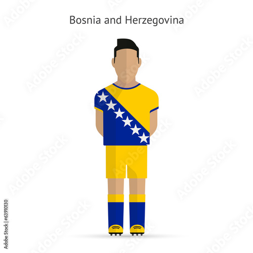Bosnia and Herzegovina football player. Soccer uniform.