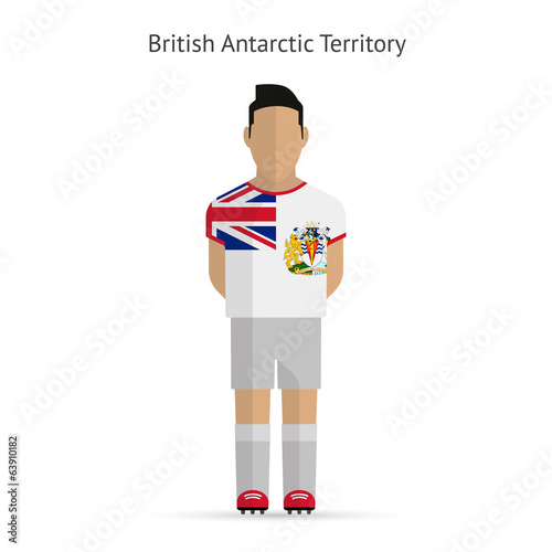 British Antarctic Territory football player. Soccer uniform.