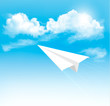 Paper airplane in the sky with clouds. Vector.