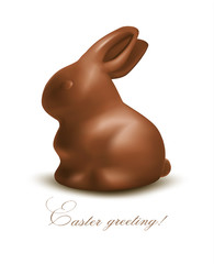 Holiday Easter background with Chocolate bunny. Vector