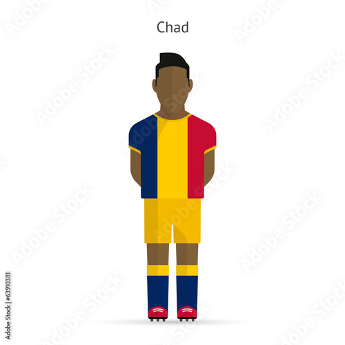 Chad football player. Soccer uniform.