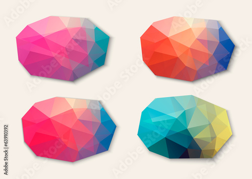Polygon abstract banners. Vector.