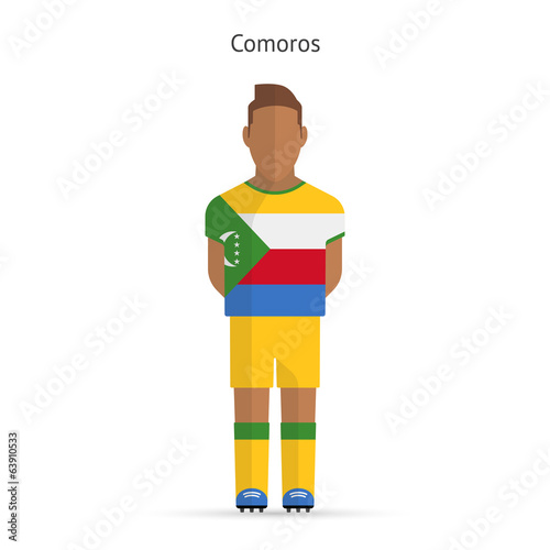 Comoros football player. Soccer uniform.