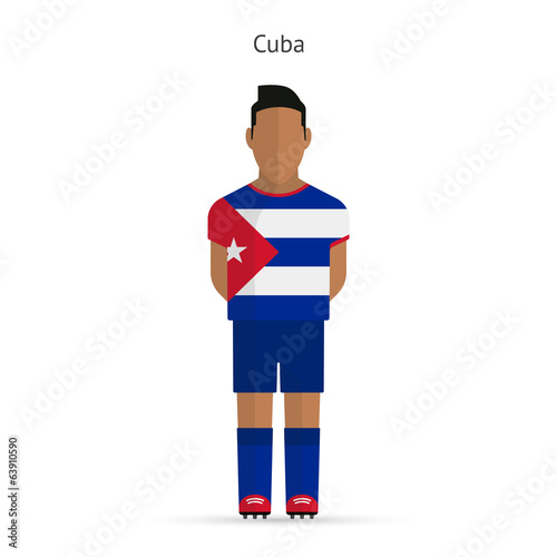 Cuba football player. Soccer uniform.