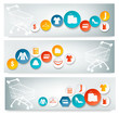 Three Shopping banners with colorful icons. Vector.