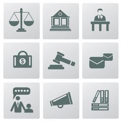 Law, legal and justice related symbols,vector