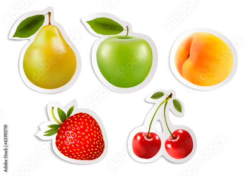 Five fruit stickers. Vector.