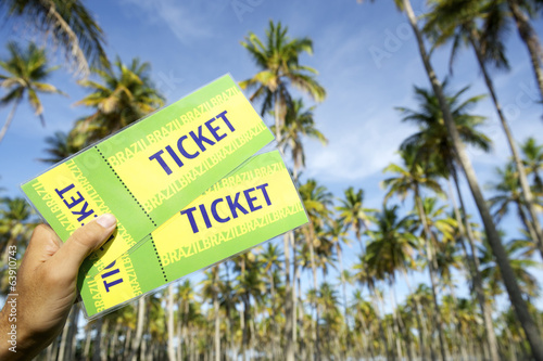 Hand Holding Tickets Palm Grove Brazil