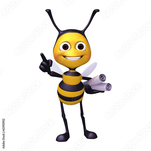 bee with roll of paper