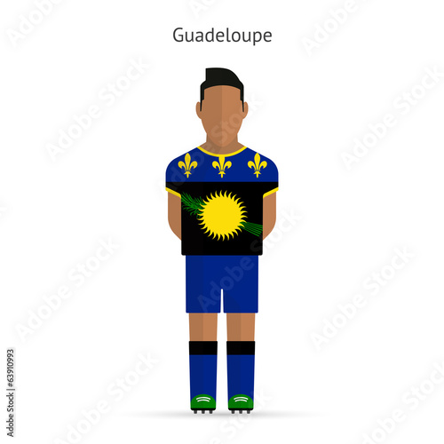 Guadeloupe football player. Soccer uniform.