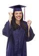 Excited Mixed Race Graduate in Cap and Gown Cheering