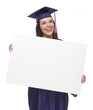 Female Graduate in Cap and Gown Holding Blank Sign
