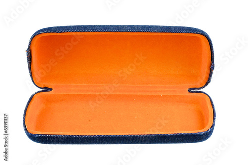 Blue and orange box for glasses isolated