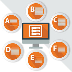 Database Infographics,for text,Orange vector