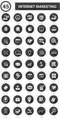 45 SEO & Marketing icons on white background,Black version