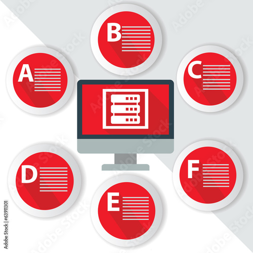 Database Infographics,for text,Red vector