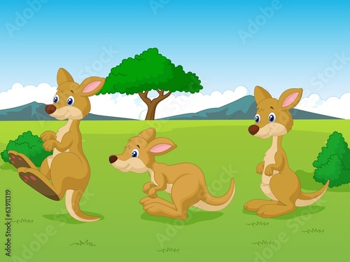 Cute kangaroo cartoon playing in the grassland