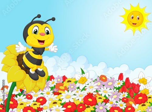 Cartoon bee sitting on the flower