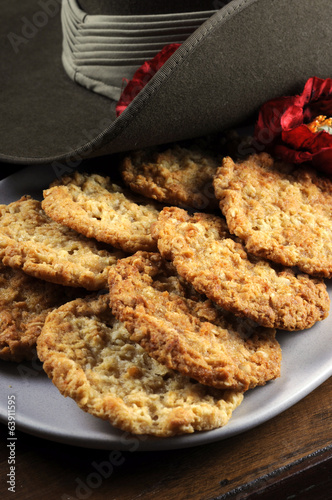 Australian Anzac biscuits - close up vertical.