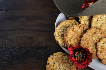 Australian Anzac biscuits with copy space.