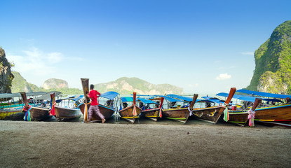 Traditional Thai Longtail boats at James Bond Island
