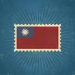 Retro Taiwan Flag Postage Stamp
