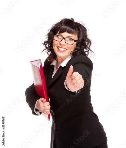 Cheerful senior business woman with folder
