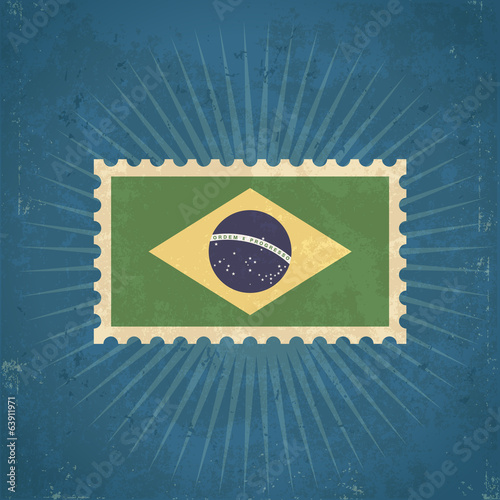 Retro Brazil Flag Postage Stamp
