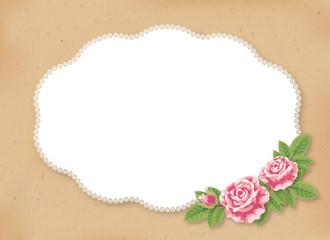薔薇のクラフト風カード