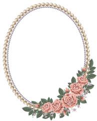 薔薇と真珠のフレーム