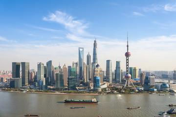 shanghai pudong skyline in sunny sky