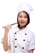 beautiful woman chef with chopsticks