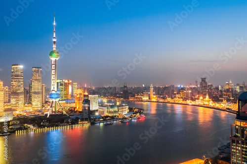 beautiful huangpu river at night in shanghai