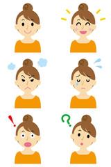 若い女性 6つの表情