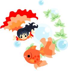 金魚と一緒に華麗に踊る、赤いドレスを着た少女。