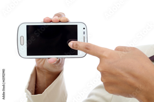 Business woman hand holding with black display of mobile phone