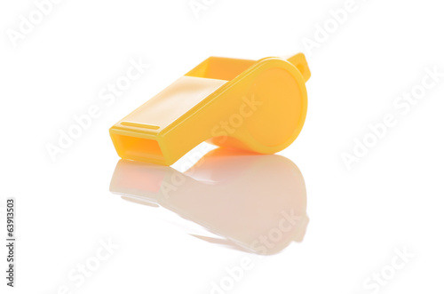 yellow whistle isolated on white background