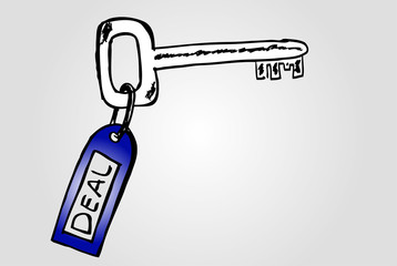 Hand draw sketch, conceptual - key to deal