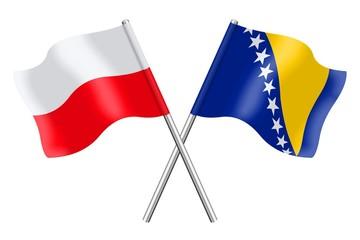 Flags : Poland and Bosnia-Herzegovina