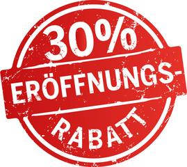 roter Button 30%  Eröffnungsrabatt