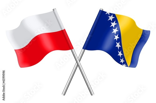Flags : Poland and Bosnia-Herzegovina