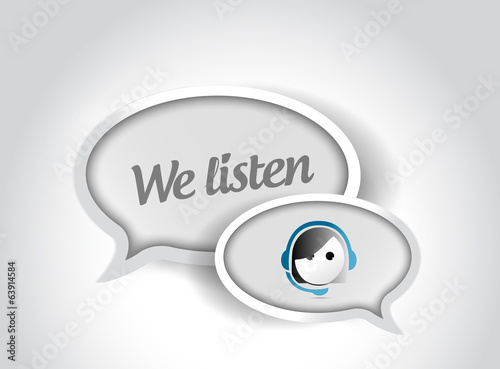 we listen customer support bubble illustration