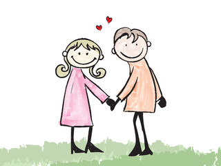 happy lover dating doodle cartoon illustration